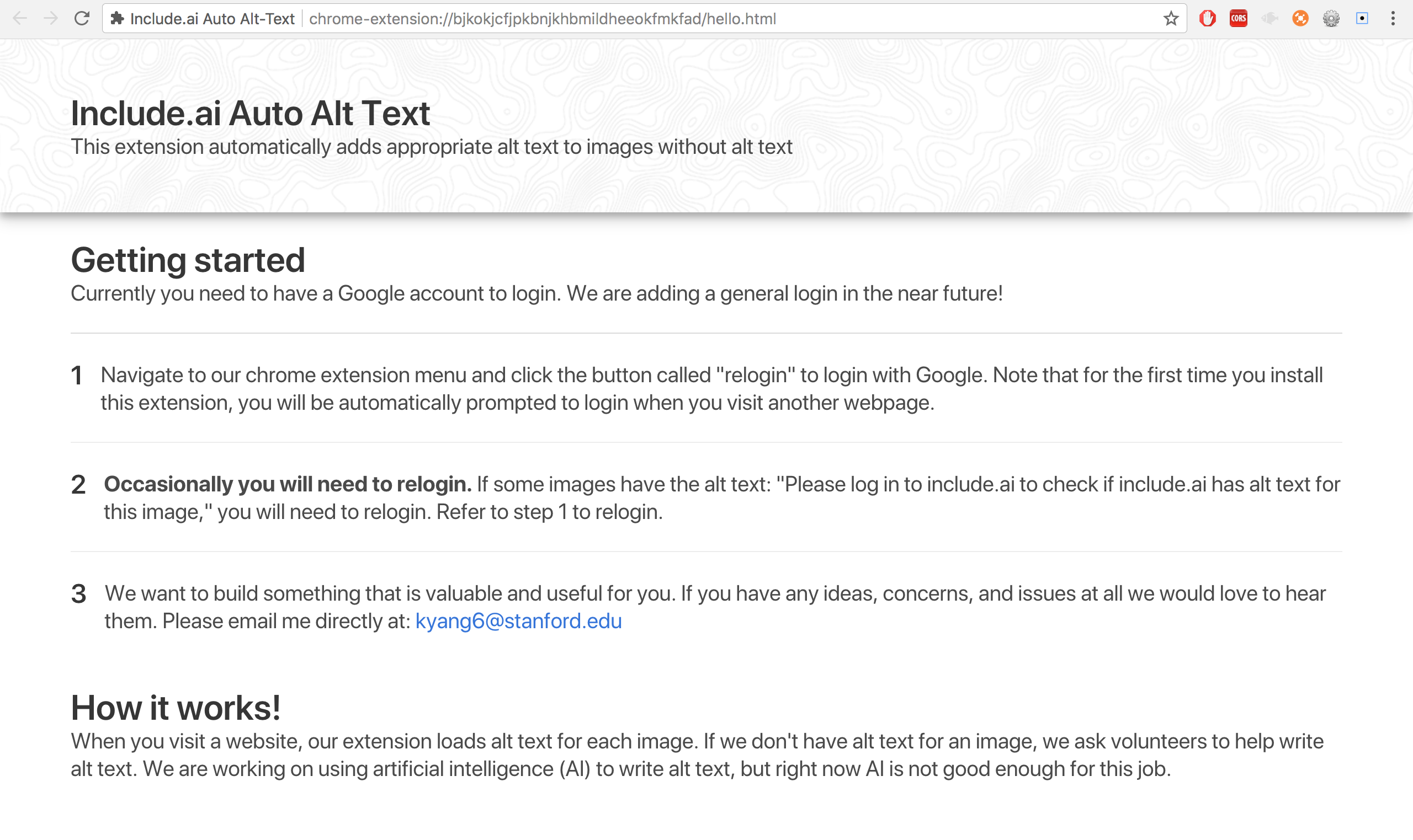 screenshot of chrome plugin getting started page